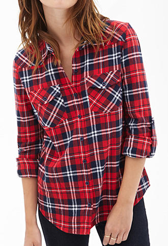 Tartan flannel collared shirt from forever 21 cute shirts for Womens christmas flannel shirt