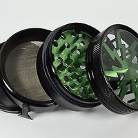 Green 4 Piece Thunder , Electric Design Herb Grinder W Pollen Spatula 2in Muller