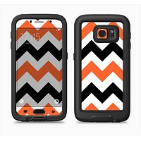 The Orange & Black Chevron Pattern Full Body Samsung Galaxy S6 LifeProof Fre Case Skin Kit