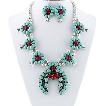Squash Blossom Necklace with Earrings Set - Fashion Jewelry