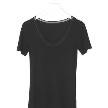 Elastic Round Neck Shirt