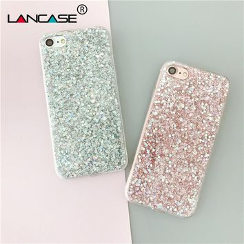 LANCASE Phone Cases TPU for iPhone 7 Case Silicon Bling Glitter Crystal Sparkles Soft Cover Fundas for iPhone 7 8 Plus X 10