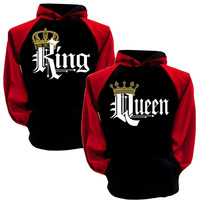 King Queen Hoodies Pullovers Valentine New Multi Colors Matching Cute Love Couples Crown Print