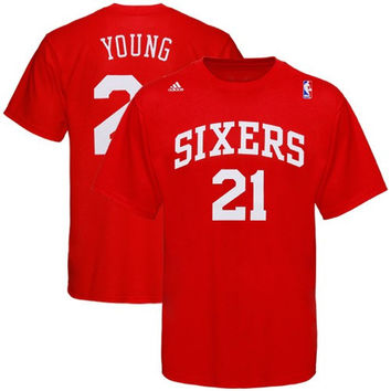 adidas Philadelphia 76ers #21 Thaddeus Young Red Player T-shirt