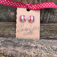 Baseball pearl stud earrings - sport earrings - baseball acessories