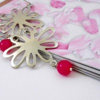 Fuchsia Glass Earrings Silver Plated Daisies On Sterling Silver Handcrafted Earwires