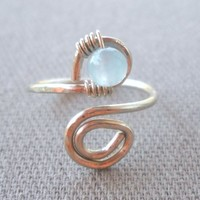 Aquamarine Wrapped Hammered Silver Wire Spiral Toe Ring Adjustable Size