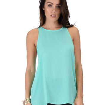 Lyss Loo At First Crush Sleeveless Aqua Top With Keyhole Back