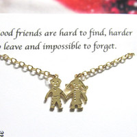 Gold Bothers and Sisters Friendship Necklace, Children Best Friend Necklace |A5| Best Friend Gift, Birthday gift for friend, holding hands