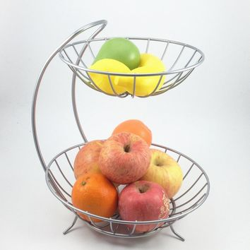 New Home Decor 2 Tiers Stainless Steel Fruit Basket Rack Tray Fashion Style Kitchen Vegetable Storage Bowl Lemon Holder