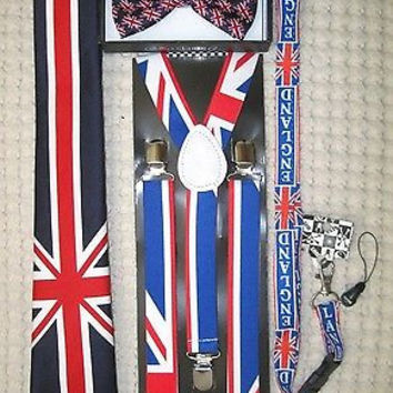 UK British Flag Y-Back Suspenders,UK Lanyard,UK Neck Tie & UK British Bow Tie-v2