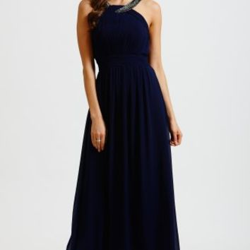 Little Mistress Navy Chiffon Embellished Twist Maxi Dress