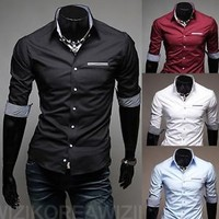 Jeansian Mens Designed Casual Dress Shirts Tops Slim Middle Sleeve XS S M L 8506