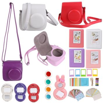 7 in 1 Instant Film Camera Accessories Bundles for Fujifilm Instax Mini 8 (Case/Album/Sticker/Frames/Color Lens/Filters/Strap)
