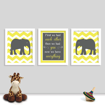First We Had Each Other Then We Had You Now We Have Everything - Chevron Nursery Art Set