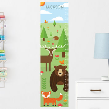Forest Animals Growth Chart Wall Decal (Personalized)