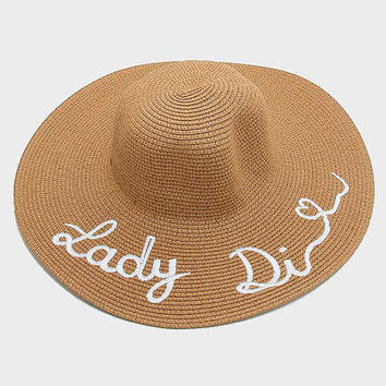 "Brown ""LADY DIANA"" Embroidered Wide Brim Straw Floppy Hat"