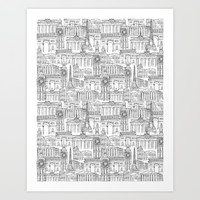 EUROPE LANDMARK PATTERN Art Print by Color and Color