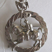 Knight on Horseback Brooch Pin Vintage Knight in Armor