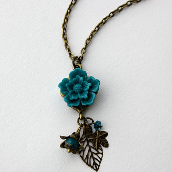 Teal Sakura Flower and Leaf Charm Necklace in Antique Brass