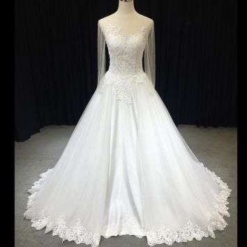 Sheer Sleeve Wedding Dress A line Tulle Satin Illusion Back Lace Appliqued Bridal Gown