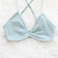 Ribbed Cross Back Bralette - Mint