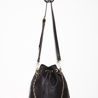 Fringed Faux Leather Bucket Bag