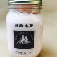 Whipped Soap Energy/Body Mousse/8 oz. Mason Jar Whipped Soap with Moisturizers/Soapie Shoppe Haywood Mall