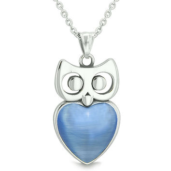 Amulet Owl Cute Heart Lucky Charm Positive Energy Star Blue Cats Eye 18 Inch Pendant Necklace