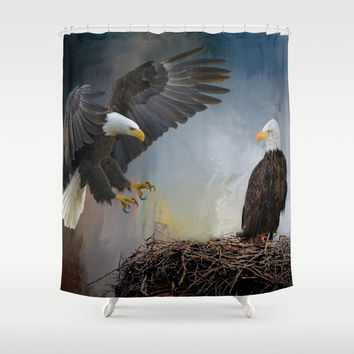 Eagles Nest Shower Curtain by Theresa Campbell D'August Art