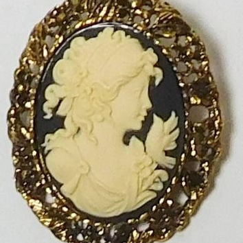 Cameo Brooch, Cameo Pendant, Black Background, Lady Profile, Bird Cameo, Large, Oval, Antiqued Gold Tone, Wide Setting, Victorian Steampunk
