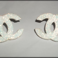 Double CC Chanel Inspired Glitter Dusted Earring Post Studs