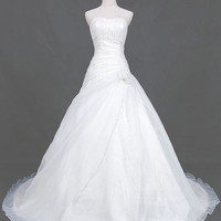 A-line Strapless Chapel Train Satin Organza  Wedding Dresses With Ruffle Beading Free Shipping