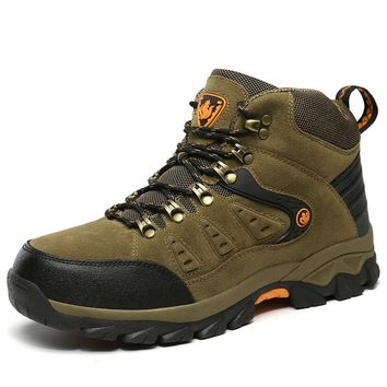 Hot Sell Winter Men's Hiking Shoes Outdoor Sports Boots Leather Warm Mountain Boots Army Green Mountain Trek Shoes Hunting