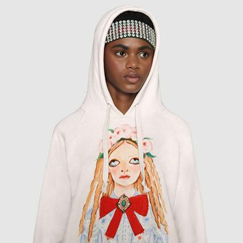 GUCCI Fashion Embroidered tea red hooded sweater