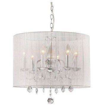 Chrome & Cream 6-light Crystal Chandelier