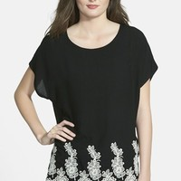 Women's Bobeau Embroidered Hem Woven Tee