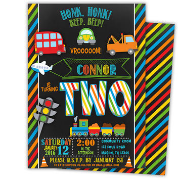 Transportation Invitation - Transportation Birthday Invite - Cars Trains Planes Party - Chalk Transportation Invitations - Boy Birthday