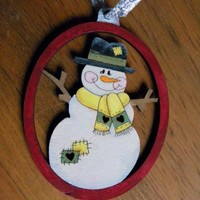 Snowman Hand Painted Wood Ornament