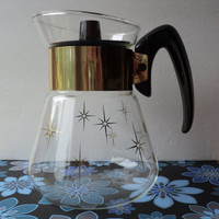 Glass Coffee Pot by Corning Heat Proof Glass Atomic Design Starburst Pattern Four Cup Coffee Decanter 1970's Retro Style Kitchen Diningware