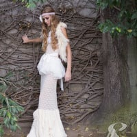 Non Traditional Nostalgic Lace and cream Halter wedding Dress