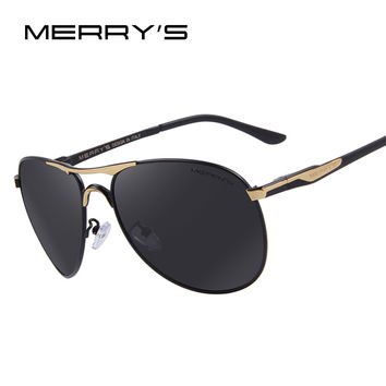 MERRY'S Men Aluminum Polarized Sunglasses Classic Brand Sunglasses EMI Defending Coating Lens Driving Shades S'8712