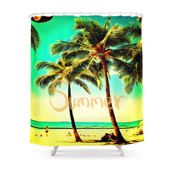 Society6 Green Yellow Vintage Palm Tree With Hawaii Summer Sea Beach Shower Curtains