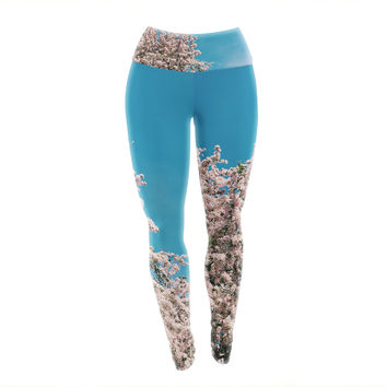 "Chelsea Victoria ""Blossom Tree"" Blue Pink Yoga Leggings"