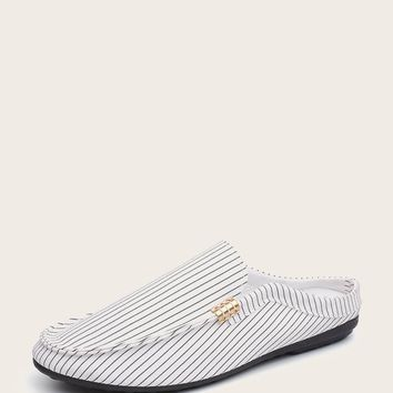 Men Striped Canvas Slip On Loafers