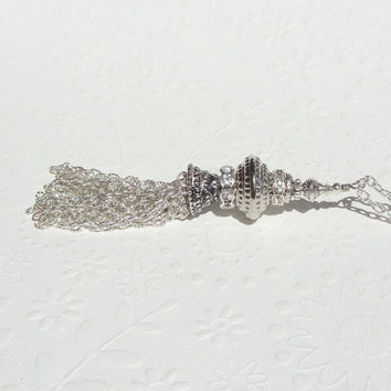 Silver Tassel Necklace, Large Silver Beaded Long Tassel Necklace, Silver Chain Tassel Necklace