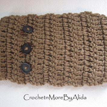 Crochet Head Band, Brown Button HairBand, Hippie Chic, Bohemian Ear Warmer,Winter Fashion,Women and Teens, Ski Band