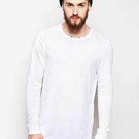 ASOS Long Sleeve T-Shirt In Longline With Textured Fabric - White
