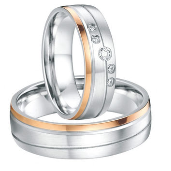 18k white gold and rose gold plated silver wedding band couples ring set luxury custom tailor handmade mens and womens jewerly