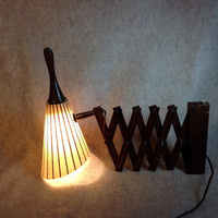 MCM Scissors Wall Lamp with Fiberglass shade - Teak wood extension - Cone Shade with Stripes - Working ! Beautiful !